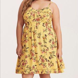 Torrid Floral Crochet Inset Challis Sunset Dress